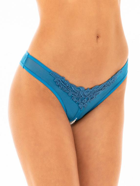 Oh La La Cheri Blue Crotchless Pearl Thong, Blue, hi-res