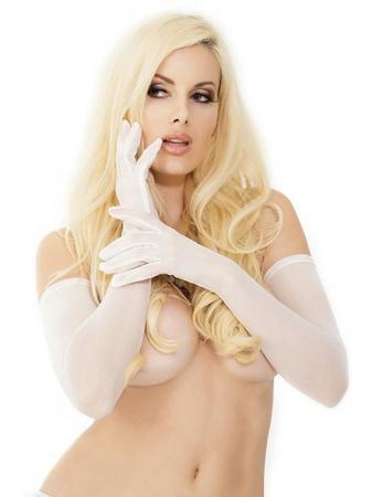 Coquette White Long Mesh Gloves