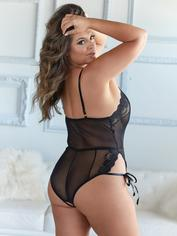 Allure Black Lace and Mesh Plunging Tie-Up Body, Black, hi-res