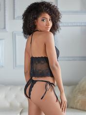 Allure Black Peekaboo Scalloped Lace Crotchless Cami Set, Black, hi-res