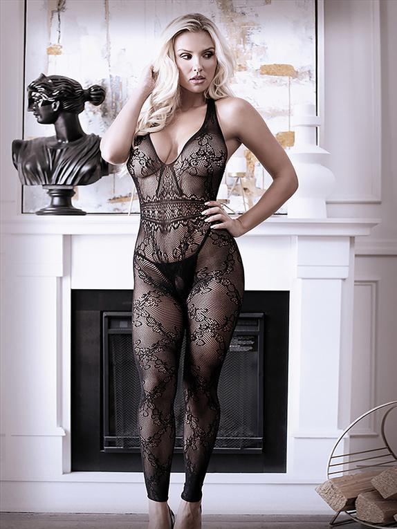 Fantasy Black Lace Halterneck Crotchless Bodystocking, Black, hi-res