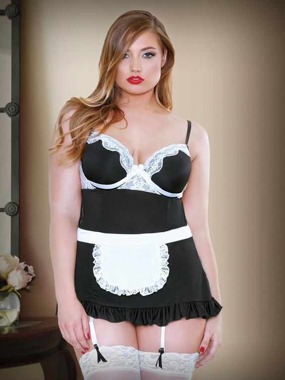 Fantasy Night Service Maid Costume , Black, hi-res