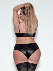 Exposed Lust Studded Wet Look Peek-a-Boo Zip Front Bra Set, Black, hi-res