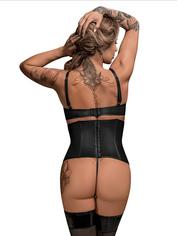 Exposed Lust Studded Wet Look Open-Cup Bustier Set, Black, hi-res