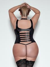 Exposed Lust Wet Look Open-Cup Lace-Up Corset Set, Black, hi-res