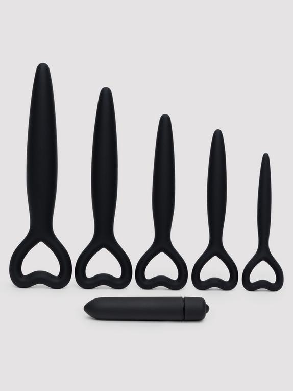 Silicone Vaginal Dilator and Bullet Vibrator Set, Black, hi-res