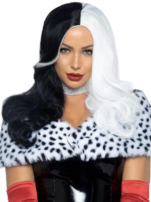 Leg Avenue Black And White Wig, Black, hi-res