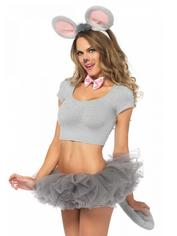 Leg Avenue Mouse Costume Accessories, Grey, hi-res