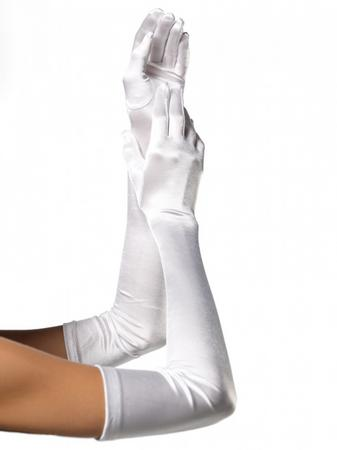 Leg Avenue White Elbow-Length Satin Gloves