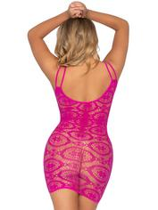 Leg Avenue Pink Daisy Crochet Lace Mini Dress, Pink, hi-res