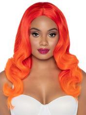 Leg Avenue Orange Ombre Long Wavy Wig, Orange, hi-res