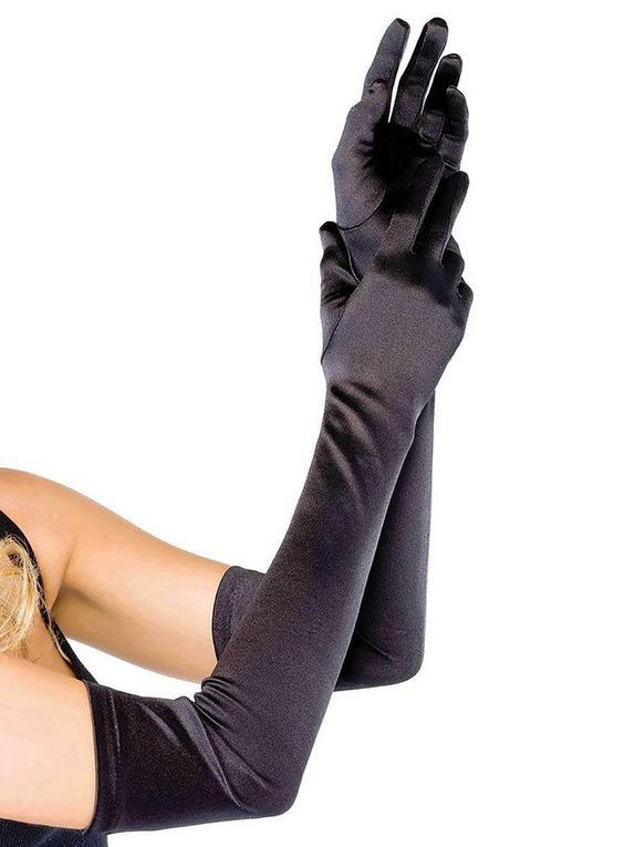 Leg Avenue ellenbogenlange Handschuhe (schwarz), Schwarz, hi-res