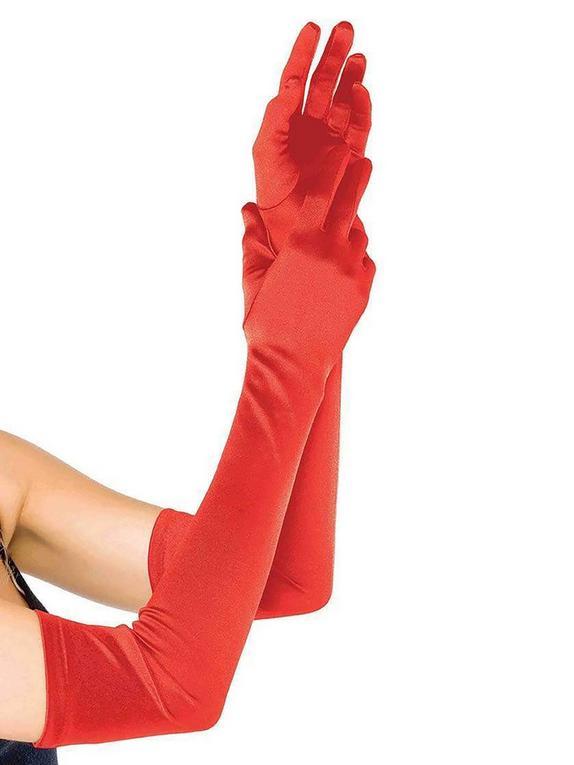 Leg Avenue Red Elbow-Length Satin Gloves, Red, hi-res