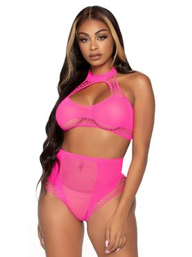 Leg Avenue Pink Crop Top and High Waisted Knickers Set