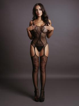 Le Desir Black Floral Hourglass Bodystocking