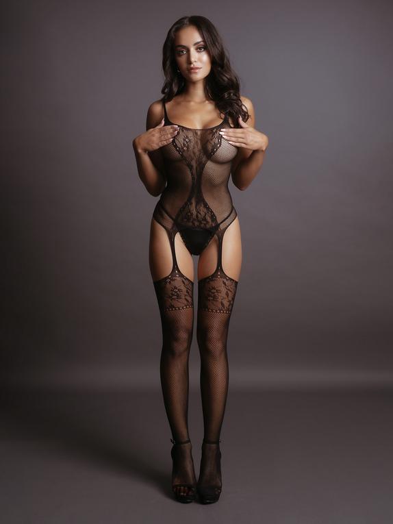 Le Desir Black Floral Hourglass Bodystocking, Black, hi-res