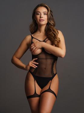 Le Desir Black Fishnet Open-Cup Suspender Body