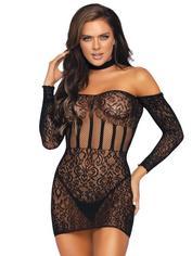 Leg Avenue Black Long Sleeve Halterneck Mini Dress, Black, hi-res