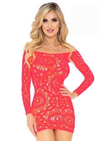 Leg Avenue Coral Crochet Lace Mini Dress