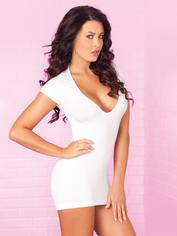 Pink Lipstick Party In The Back White Mini Dress, White, hi-res