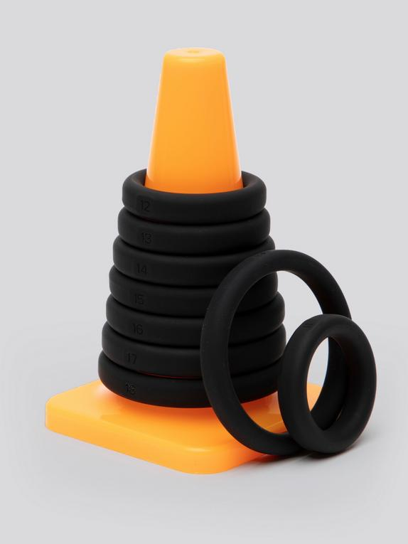 Perfect Fit Play Zone Cock Ring Set (9 Pack), Black, hi-res