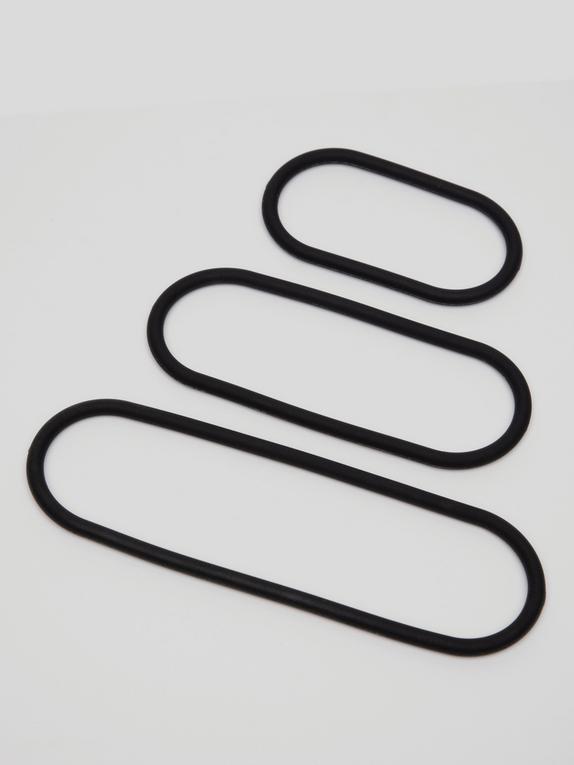 Perfect Fit Wrap Cock Ring Set (3 Pack), Black, hi-res
