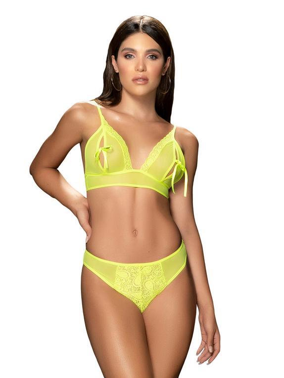 Mapale Neon Yellow Peek-a-Boo Bra Set, Yellow, hi-res