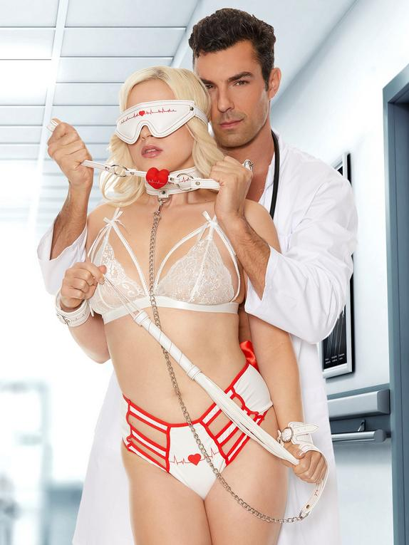 Ouch! Nurse Bondage Kit (9 Piece), White, hi-res