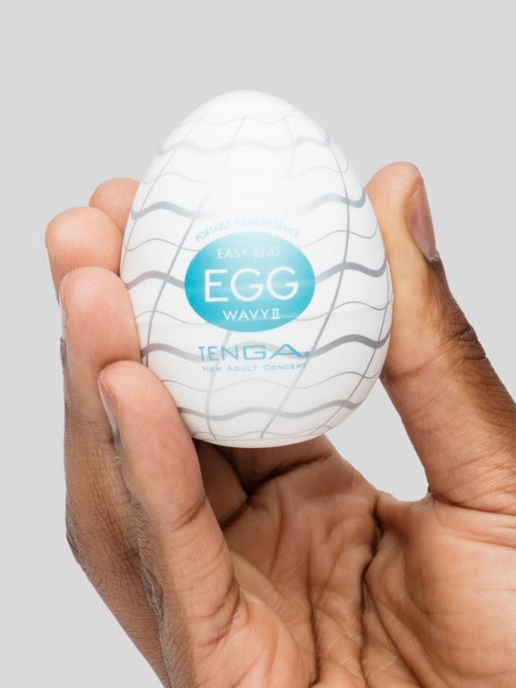 TENGA Egg Wavy II Textured Male Masturbator , White, hi-res
