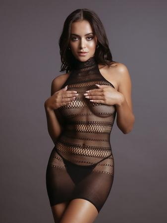 Le Desir High Neck Lace Netted Mini Dress