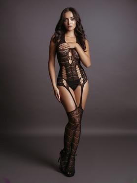 Le Desir Halterneck Lace Suspender Bodystocking with Criss Cross Detail
