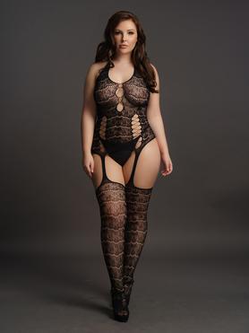 Le Desir Plus Size Halterneck Lace Suspender Bodystocking with Criss Cross Detai