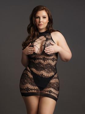 Le Desir Plus Size High Neck Criss Cross Lace Mini Dress