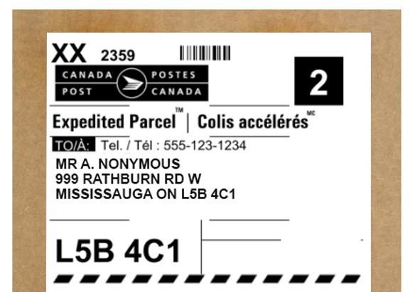 Your Lovehoney.ca address label, with discreet sender's address
